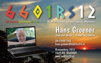 Voorzijde Visitekaart en Flyer - Meer dan 30 jaar ICT ervaring